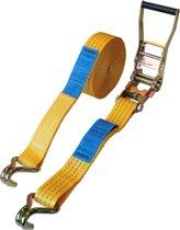 Topprotect Spanband geel - 50mm - met ratelgesp en haken - 7m