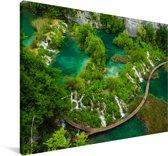 Uitzicht op watervallen in het Nationaal park Plitvicemeren in Kroatië Canvas 180x120 cm - Foto print op Canvas schilderij (Wanddecoratie woonkamer / slaapkamer) XXL / Groot formaat!