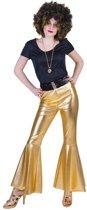 Glitter & Glamour Kostuum | Disco Fever Broek Glinsterend Goud Vrouw | Maat 40-42 | Carnaval kostuum | Verkleedkleding