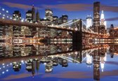 Fotobehang New York Brooklyn Bridge Night | XXXL - 416cm x 254cm | 130g/m2 Vlies