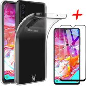 iCall - Samsung Galaxy A70 Hoesje + Screenprotector Full-Screen - Transparant Soft TPU Siliconen Gel Case met Tempered Glass Gehard Glas