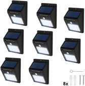 TecTake - 8* LED Solar tuinverlichting wandlamp bewegingssensor 401738