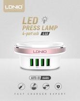 LDNIO Premium Oplaad Station met 4 USB Poorten 4.4A en LED nacht verlichting met druk knop voor het aan en uit zetten van de LED verlichting