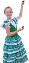 Spaanse jurk - Flamenco - Groen/Wit - Maat 140/146 (12) - Verkleed jurk