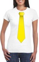 Wit t-shirt met gele stropdas dames 2XL