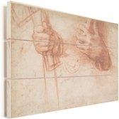 Studies van handen - Schilderij van Andrea del Sarto Vurenhout met planken 40x30 cm - klein - Foto print op Hout (Wanddecoratie)