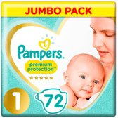 Pampers maat 1 premium protection- 2,5kg new born- voordeelverpakking 72 stuks