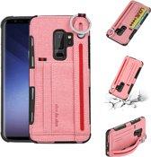 Let op type!! Voor Galaxy S9 + doek textuur + TPU schokbestendige beschermhoes met metalen ring & houder & kaartsleuven & hangende riem (roze)