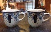 Bunzlau Castle koffiekopjes Blue White Love 2 st