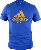 Adidas judo T-shirt   blauw met oranje opdruk   maat XXL