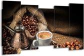 Schilderij   Canvas Schilderij Koffie, Keuken   Bruin, Geel, Wit   150x80cm 5Luik   Foto print op Canvas