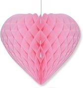 Lichtroze decoratie hart 28 cm - Valentijn / Bruiloft versiering