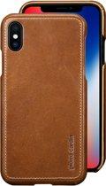 Pierre Cardin Backcover hoesje Bruin - Stijlvol - Leer - iPhone X en  iPhone Xs  - Luxe cover