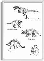 Kinderkamer poster dinosaurus - Namen van dinosaurussen poster - Zwart wit kinderkamer poster - A4