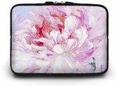 13 inch Laptophoes met Bloem Print – Roze – Laptoptas Sleeve met Rits Sluiting
