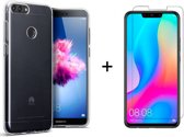 Huawei P Smart (2018) Siliconen Hoesje - Gratis Tempered Glass Screenprotector - Transparant