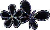 Jessidress Luxe haarclip met grote haarbloemen met steentjes - Zwart