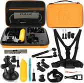 20 in 1 GoPro accessoire combi kit met Orange EVA hoes voor GoPro HERO 4 Session / 4 / 3+ / 3 / 2 / 1