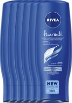 NIVEA Hairmilk Herstellende Conditioner  - 6 x 200 ml - Voordeelverpakking