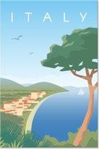 Canvas Schilderij Retro - Landschap Italië