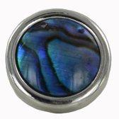 Quiges - Verzilverde Aanschuif Charm Bedel Kunstparel Blauw voor Quiges Wikkelarmbanden - EHC197
