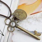 Ketting met 2 hangers koper | Lange ketting met sleutel en munt | Ketting suede