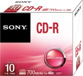 Sony 10CDQ80SS - 10 x CD-R - 700 MB ( 80min ) 48x - slim jewel case