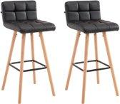 Clp Lincoln V2 - Set van 2 barkrukken - Kunstleer - Zwart Natura