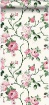 Origin behang bloemen wit en licht roze - 347434