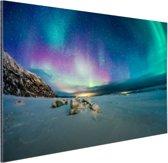 Bevroren fjord met noorderlicht Aluminium 90x60 cm - Foto print op Aluminium (metaal wanddecoratie)
