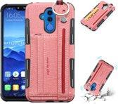 Let op type!! Voor Huawei mate 20 Lite doek textuur + TPU schokbestendige beschermhoes met metalen ring & houder & kaartsleuven & hangende riem (roze)