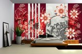 Red | Gray Photomural, wallcovering