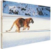 Siberische tijger op jacht Hout 80x60 cm - Foto print op Hout (Wanddecoratie)