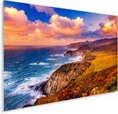 Landschap op Big Sur Californie en Bixby Creek Bridge Plexiglas 90x60 cm - Foto print op Glas (Plexiglas wanddecoratie)