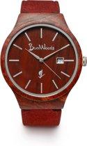 Burnwoods Sphinx Red - Houten Horloge - Hout - Unisex - Bruin