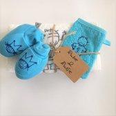 Rube & Rutje kids handdoek wit, turquoise schoentjes, kids washandje turquoise