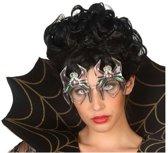 Halloween/horror spinnen bril met groene verlichting voor volwassenen - Halloween verkleed accessoire