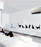 Muursticker Cats - set van 6 poezen - 194 x 41 cm