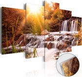 Afbeelding op acrylglas - Waterval, Oranje,  5luik