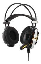 DELTACO GAMING GAM-025 Stereo Gamer Headset met vibratie en LED licht, 2 x 3.5 mm jack en USB power 5 Jaar Garantie zwart-zilver
