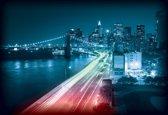 Fotobehang New York City Brooklyn Bridge Lights | XXXL - 416cm x 254cm | 130g/m2 Vlies