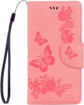 Voor Sony Xperia XZ Power Vlinders Embossing horizontaal Flip lederen hoesje met houder & opbergruimte voor pinpassen & portemonnee & Lanyard(roze)