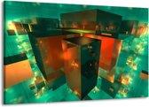 Canvas schilderij Abstract   Blauw, Groen, Rood   140x90cm 1Luik