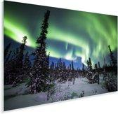 Het poollicht boven het besneeuwde landschap van het Nationaal park Denali Plexiglas 90x60 cm - Foto print op Glas (Plexiglas wanddecoratie)