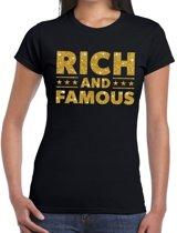 Rich and Famous goud glitter tekst t-shirt zwart voor dames - dames verkleed shirts L