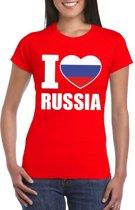 Rood I love Rusland fan shirt dames M