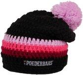 Poederbaas Lange gekleurde muts - roze/zwart/bordeauxrood