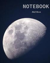 Notebook: : Notebook Journal - Black soft cover shows the moon in a stylish - 100 pages in size 8 * 10