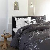Beddinghouse C'est La Vie dekbedovertrek - Antraciet - 1-persoons (140x200/220 cm + 1 sloop)