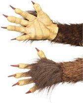 Weerwolf handschoenen bruin met nepbont voor volwassenen - Verkleed accessoires